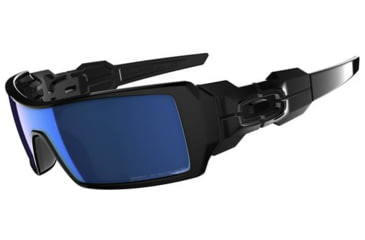 Oakley Oil Rig Sunglasses, Ice Iridium Polarized Lens, Polished Black Frame 26-248