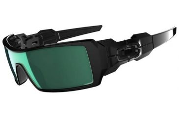Oakley Oil Rig Sunglasses, Emerald Iridium Lens, Polished Black Frame 26-249