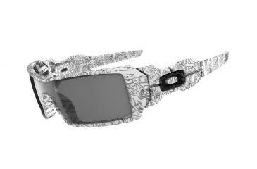 Oakley Oil Rig White Frame w/ Text Print Paint - Grey Lenses Men's Sunglasses 03-461