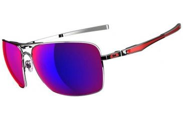 Oakley Plaintiff Squared Sunglasses - Polished Chrome  Frame and Red Iridium Lens OO4063-07