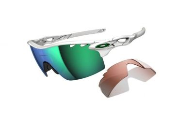 Oakley Radarlock XL Mens Sunglasses Polished White Frame, Jade Iridium Vented and VR28 Vented Lens OO9170-03