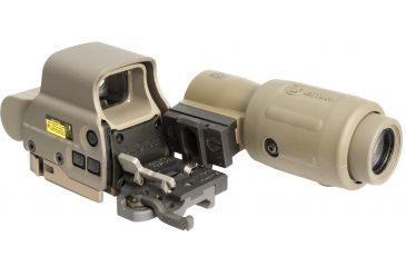 5-EOTech OPMOD MPO II EXPS3-0 Holosight with G23 3X Magnifier - 65 MOA ring and 1 MOA Dot Reticle, Tan