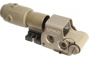 2-EOTech OPMOD MPO II EXPS3-0 Holosight with G23 3X Magnifier - 65 MOA ring and 1 MOA Dot Reticle, Tan