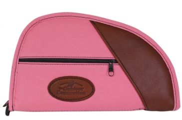 Outdoor Connection Deluxe Traditional Heart-Shaped Pistol Case Pink Polyester With Leather Trim 11 Inch