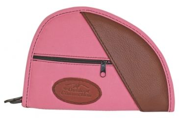 Outdoor Connection Deluxe Traditional Heart-Shaped Pistol Case Pink Polyester With Leather Trim 8 Inch
