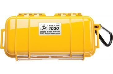 Pelican 1030 Micro Watertight Dry Box, 7.50x3.87x2.43in - Solid Yellow w/Carabiner