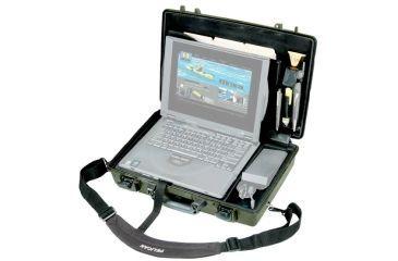 2-Pelican 1490CC Laptop Computer Waterproof OD Green Carry Case w/ Lid Organizer