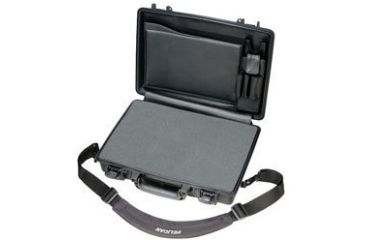 Pelican 1495 CC#2 Notebook - Laptop Computer Waterproof Black Carry Case w/ Lid Organizer, Foam and Removable Shoulder Strap