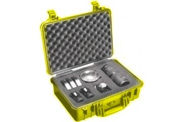 Pelican 1504 Medium Crushproof Dry Case 18 5x14x7in Yellow W Liner And Dividers