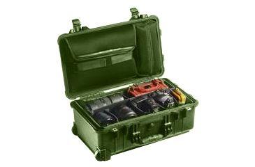 Pelican 1510SC Studio Case w/ Wheels, Divider Set, Lid Organizer, OD Green