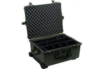 Pelican Large Green Case 1614 w/ Padded Dividers Open 1610-024-130