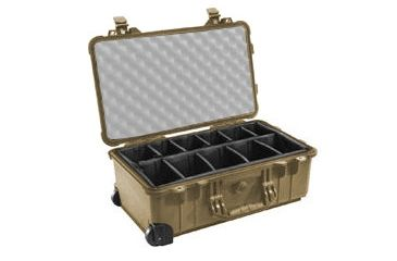 Pelican 1510 Carry On 22x13x9in Wheeled Protector Case, Desert Tan w/Padded Dividers