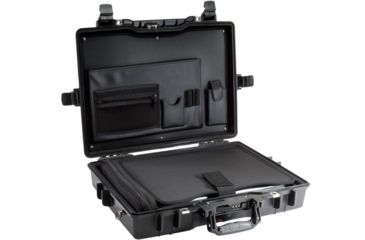 1-Pelican 1495 CC1 Laptop Computer Deluxe Carrying Black Case w/ Lid Organizer, Fitted Shock Absorbing Tray and Removable Shoulder Strap
