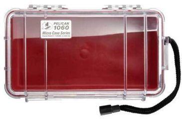 Pelican Micro Case 1060 - Clear Carabiner Loop Red Dry Box