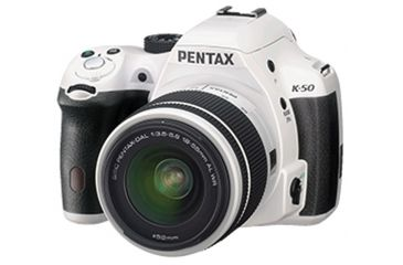 Pentax K-50  DSLR Camera with 18-55mm f-3.5-5.6 and 50-200mm f-4-5.6 Lenses, White 10950