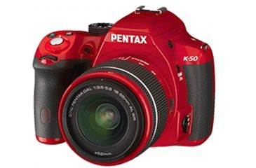 Pentax K-50  DSLR Camera with 18-55mm f-3.5-5.6 and 50-200mm f-4-5.6 Lenses, Red 10997