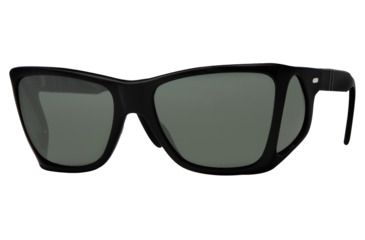 Persol PO0009 Sunglasses Black Crystal Green Polarized