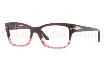 Persol PO3011V Progressive Prescription Eyeglasses 950-5417 - Dark Red Transparent Frame, Demo Lens Lenses