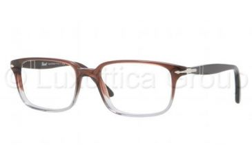 Persol PO3013V Progressive Prescription Eyeglasses 908-5117 - Brown Red Smoke Gradient Frame, Demo Lens Lenses