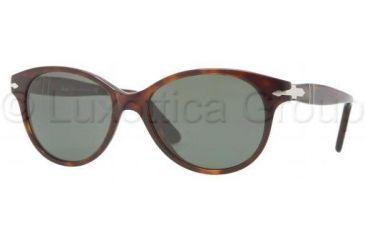 Persol PO3017S Sunglasses 24/31-5200 - Havana Frame, Crystal Green Lenses