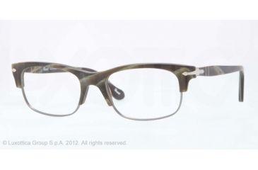 Persol PO3033V Progressive Prescription Eyeglasses 996-50 - Matte Green Horn Frame, Demo Lens Lenses