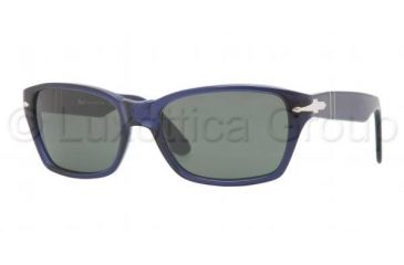 Persol PO3040S Sunglasses 181/31-5618 - Blue Frame, Crystal Green Lenses