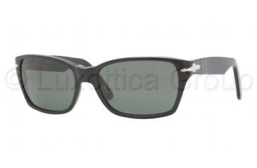 Persol PO3040S Sunglasses 95/31-5618 - Black Frame, Crystal Green Lenses