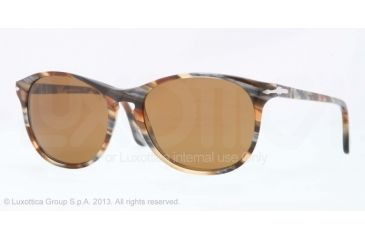 Persol PO3042S Bifocal Prescription Sunglasses PO3042S-978-33-51 - Lens Diameter 51 mm, Frame Color Brown Stripped Grey