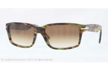 Persol PO3067S Sunglasses 974/51-57 - Brown Striped Green Frame, Gradient Brown Lenses