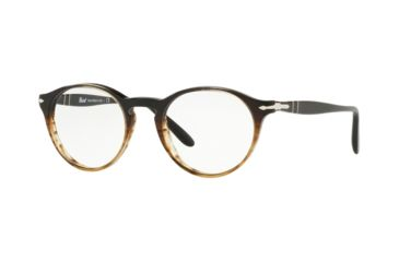40d7c84445 Persol PO3092V Eyeglass Frames 9052-48 - Grad Black Striped Brown Frame