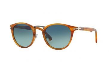 444efc0914fc Persol PO3108S Sunglasses 960/S3-49 - Striped Brown Frame, Light Blue Grad
