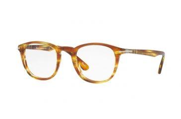 7b5f1fce8c Persol PO3143V Single Vision Prescription Eyeglasses 1050-49 - Striped  Brown Yellow Frame