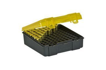 Plano Molding 100 Count Handgun Ammo Case w/Hinged Cover - 357-38 caliber - Dk. Gray & trans Amber 1225-00
