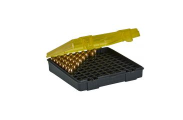 Plano Molding 100 Count Handgun Ammo Case w/Hinged Cover - 45 Gov't.-40 & 10mm caliber - Dk. Gray & trans Amber 1227-00