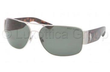 Polo PH3072 Sunglasses 90019A-6614 - Shiny Silver Frame, Polarized Green Lenses