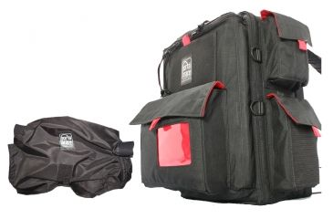 Porta-Brace BK-1NQS-M3 Small Backpack Case with Quick Slick Camera Slicker - Black-Red