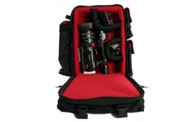 PortaBrace BK-1NRQS-M4 Small Backpack Camera Case - Black/Red