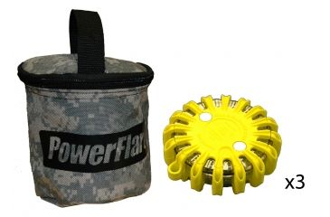 Powerflare PF-200 Softpack,  3 Safety Lights,Infrared LED,ACU Bag,3 Batteries, Yellow Shell SP3ACU-I-Y