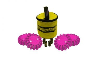 Powerflare PF-200 Softpack,  4 Safety Lights,Infrared LED,Yellow Bag,6 Batteries, Hot Pink Shell SP6Y-I-HP