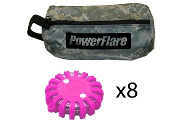 Powerflare PF-200 Softpack,  8 Safety Lights,Red LED,ACU Bag,8 Batteries, Hot Pink Shell SP8ACU-R-HP