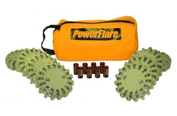 Powerflare PF-200 Softpack,  8 Safety Lights,Amber LED,Orange Bag,8 Batteries, Olive Drab Shell SP8O-A-OD