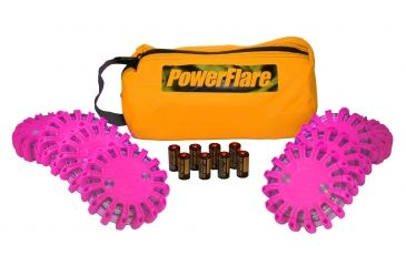 Powerflare PF-200 Softpack,  8 Safety Lights,Amber LED,Orange Bag,8 Batteries, Hot Pink Shell SP8O-A-HP
