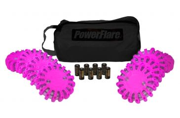 Powerflare PF-200 Softpack,  8 Safety Lights,Amber LED,Black Bag,8 Batteries, Hot Pink Shell SP8BK-A-HP