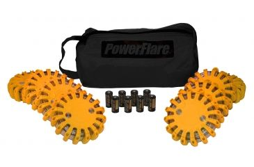 Powerflare PF-200 Softpack,  8 Safety Lights,Amber LED,Black Bag,8 Batteries, Orange Shell SP8BK-A-O