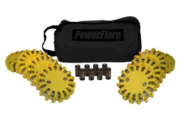 Powerflare PF-200 Softpack,  8 Safety Lights,Amber LED,Black Bag,8 Batteries, Yellow Shell SP8BK-A-Y