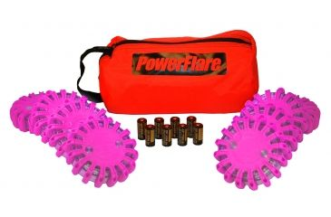 Powerflare PF-200 Softpack,  8 Safety Lights,Amber LED,Red Bag,8 Batteries, Hot Pink Shell SP8R-A-HP
