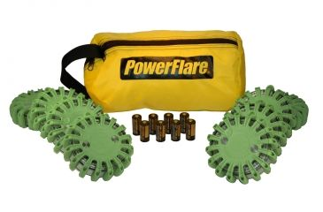 Powerflare PF-200 Softpack,  8 Safety Lights,Amber LED,Yellow Bag,8 Batteries, Olive Drab Shell SP8Y-A-OD