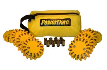 Powerflare PF-200 Softpack,  8 Safety Lights,Amber LED,Yellow Bag,8 Batteries, Orange Shell SP8Y-A-O