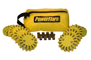 Powerflare PF-200 Softpack,  8 Safety Lights,Amber LED,Yellow Bag,8 Batteries, Yellow Shell SP8Y-A-Y