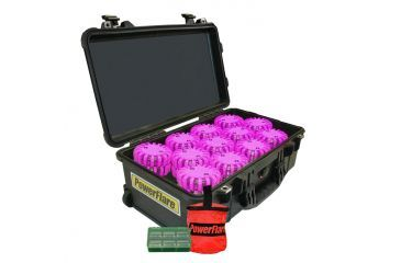 Powerflare PF-200 Incident Command Pack - 60 Lights,Amber LED,Black Case,60 Batteries, Hot Pink Shell PFPACK60BK-A-HP